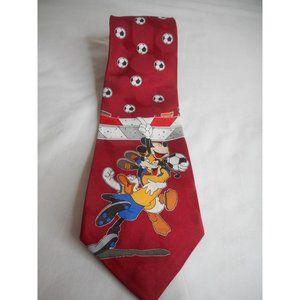 Vintage Disney Soccer Burgundy tie Mickey Donald